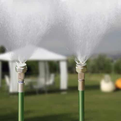 Mise en sitaution du brumisateur de jardin : trio de brumisation avec tente de jardin